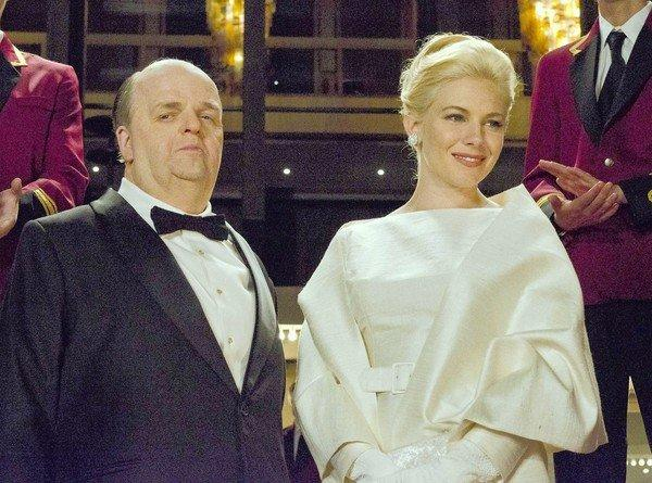 "Toby Jones, portraying Alfred Hitchcock, with Sienna Miller, portraying Tippi Hedren, in a scene from the HBO film ""The Girl."""
