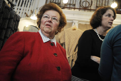 U.S. Sen. Barbara Mikulski during a tour of Historic Ellicott City businesses on Friday.
