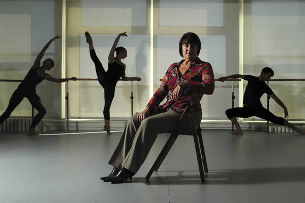 Nan Giordano in the new studios and home of Giordano Dance Chicago, where she is artistic director. Behind her are dancers Ashley Rockwood, from left, Maeghan McHale and Zachary Heller.