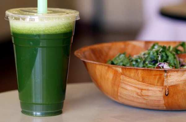 Da Juice Bar, located on the 300 block of N. Brand Blvd. in Glendale, has a Green Juice that includes kale, parsley, celery, spinach, cucumber and choice of red or green apples. Alongside the juice is a Kale salad.