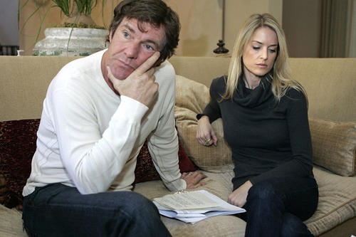 "Dennis Quaid's wife, Kimberly Buffington-Quaid, has filed for legal separation, despite calling off divorce proceedings earlier in 2012. <br /> <br /> A representative confirmed the separation to People magazine, asking that the couple's privacy be respected as they split after eight years of marriage. The separation filing is a mere formality, sources told TMZ, with divorce coming as soon as possible down the line. <br /> MORE: <a href=""http://www.latimes.com/entertainment/gossip/la-et-mg-dennis-quaid-divorce-separation-kimberly-buffington-quaid,0,6909382.story"">Dennis Quaid divorce back in play; wife files for separation</a>"