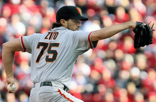 Giants starter Barry Zito works against the Cincinnati Reds in Game 4 of the NLDS last week.