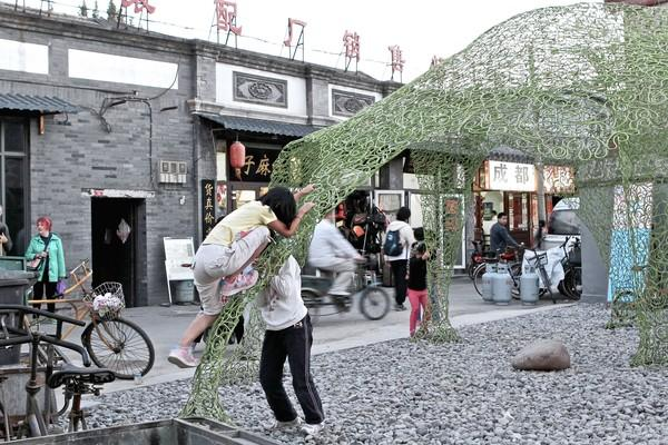 In the Dashilar, a historical dilapidated neighborhood in the heart of Beijing.