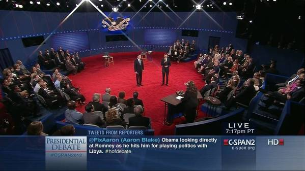 Screen grab from C-SPAN2 Tuesday night showing debate with tweets from reporters in real time. This one is from the big Libya moment.
