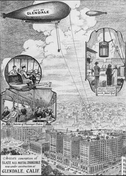 Slate advertised his airship with brochures and promotions. Above is an illustration of how the City of Glendale dirigible would pick up passengers from the Hotel Glendale rooftop.