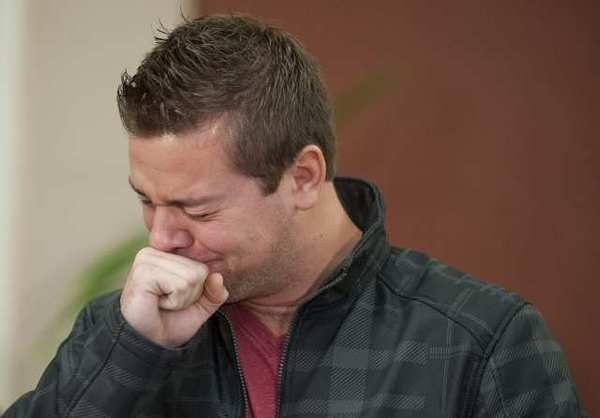 Clint Heichel, husband of Whitney Heichel, breaks down as he attempts to speak at a news conference in Oregon this week about his wife's disappearance.