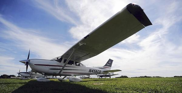 A Cessna Skylane 182 sits idle at Braden Airpark in Easton.