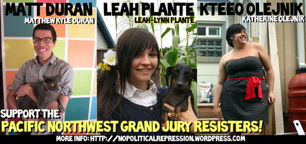 Posters on the Internet calling for support of activists Matthew Duran, Leah-Lynn Plante and Katherine Olejnik