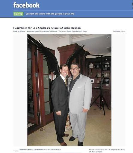 A photo from the Victorino Noval Foundation's Facebook page shows Noval, right, with Alan Jackson, who's running for L.A. County district attorney. Jackson said he didn't know that Noval pleaded guilty to mail fraud and tax evasion in connection with a multimillion-dollar mortgage scheme that made headlines in the late 1990s.