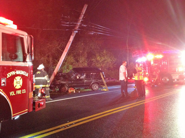 Emergency crews from the Joppa-Magnolia Volunteer Fire Company rescued a 21-year-old woman who was trapped after her vehicle struck a utility pole on Route 7 in Joppa Friday night.