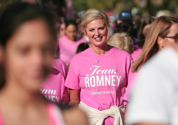 Ann Romney, cancer survivor and wife of 2012 Republican presidential nominee Mitt Romney, takes part in the Making Strides Against Breast Cancer 5k in Orlando, Fla.