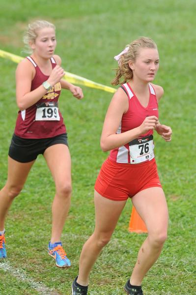 Dulaney's Isabel Griffith, front, stayed ahead of Hereford's Meghan Anderson all the way to the end of the Baltimore County girls championship race at Dulaney High.