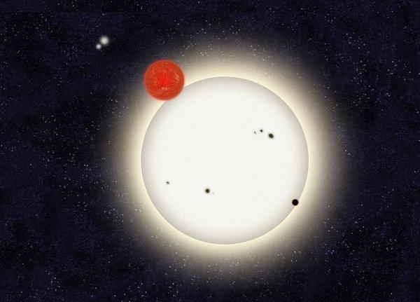 "A ""family portrait"" of the newly discovered planet PH1, with its four suns. Citizen scientists found the planet by poring through Kepler telescope data."