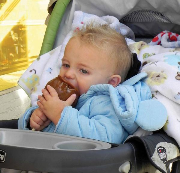 It was love at first bite for 18-month-old Ethan Elbertson of Shippensburg, Pa., after he bit into a caramel apple Saturday at AppleFest in Chambersburg, Pa.