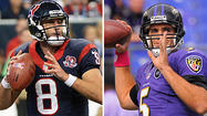 <strong>RAVENS PASSING GAME:</strong> Quarterback Joe Flacco has had a solid season, but he's struggled in the Ravens' two road games, continuing a trend from last season. He has one touchdown, two interceptions, a 50.7 completion percentage and he's been sacked six times. He has had good success against Houston with four touchdowns and one interception in three games. His offensive line, which held its own against DeMarcus Ware last week, will have its hands full versus a young and quick front.