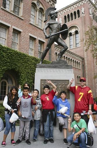 Pomona Elementary School teacher Jeff Williams took a group of his sixth-grade students on a tour of the University of Southern California on Saturday.