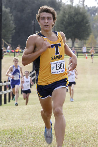 Trinity Prep's Daniel Salas led his team to a first-place finish at the West Orange Invitational on Saturday. Salas placed first in the boys varsity race with a 15:40.89.