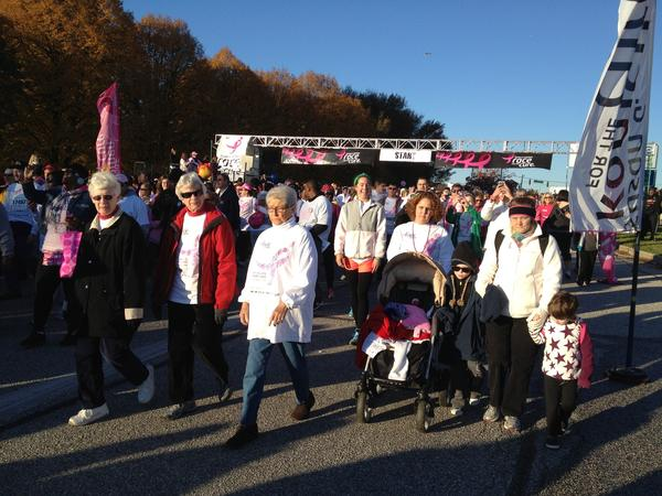 Participants in the Komen Race for the Cure in Hunt Valley, just after the sun rose Sunday.
