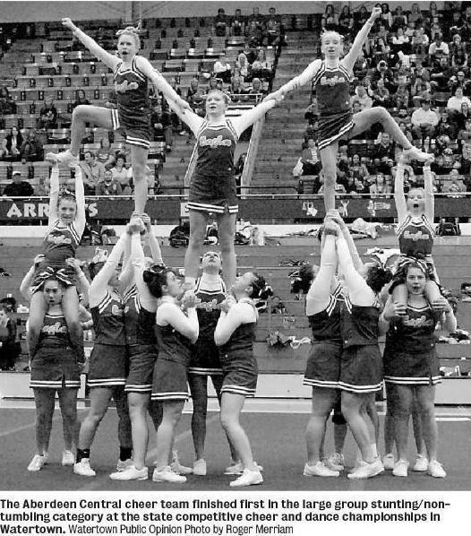Cheerleading Stunts for Small Squads http://articles.aberdeennews.com/2012-10-21/sports/34612307_1_central-cheer-sioux-falls-washington-brandon-valley
