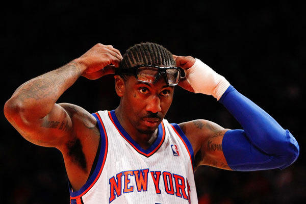 New York Knicks power forward Amare Stoudemire (1) reacts on the court against the Miami Heat during the second half of game four in the Eastern Conference quarterfinals of the 2012 NBA Playoffs at Madison Square Garden.