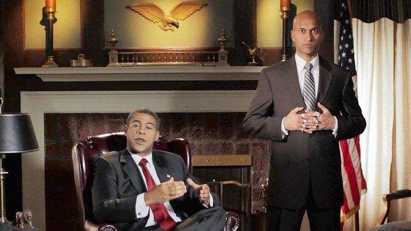Calm is key for Jordan Peele's President Obama, left, while Keegan-Michael Key's Luther gets ready to vent.