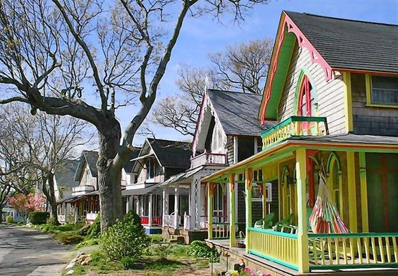 Handout photo of gingerbread cottages in the Martha's Vineyard Campmeeting Association, Oak Bluffs, Massachusetts