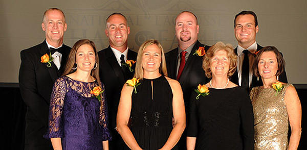 Front row (left to right): Kelly Amonte Hiller, Jen Adams, Cindy Timchal, Missy Foote Back row (left to right): Tim Nelson, Roy Colsey, Brian Dougherty, Jesse Hubbard