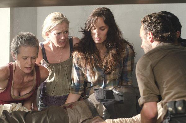 Carol (Melissa Suzanne McBride), Beth Greene (Emily Kinney), Lori Grimes (Sarah Wayne Callies) and Rick Grimes (Andrew Lincoln)