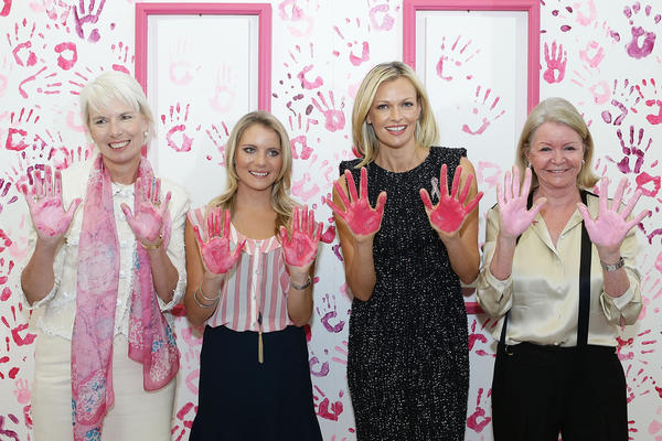 National Breast Cancer Foundation patrons, (L-R) Westpac CEO, Gail Kelly, Anne Kelly, Sarah Murdoch and Carol O'Hare pose whilst displaying their hands on October 5, 2012 in Sydney, Australia. The National Breast Cancer Foundation today launched a new stage of the Register4 program and revealed new research surrounding risk associated with breast cancer.