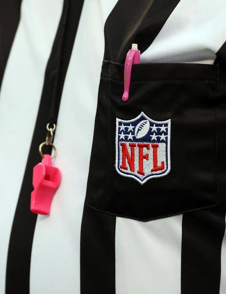 A general view of a referee during breast cancer awareness month during their game at Bank of America Stadium on October 7, 2012 in Charlotte, North Carolina.