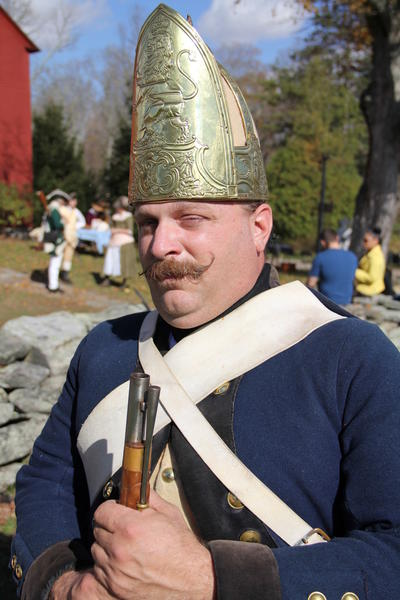 Stewart Noe, of Newburg, N.Y., displays the uniform worn by the Hessian (German) soldiers who fought on the British side during the American Revolutionary War.