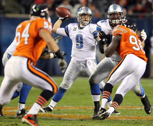 Lions quarterback Matthew Stafford (9) throws a pass against the Chicago Bears at Soldier Field on Nov. 13, 2011.