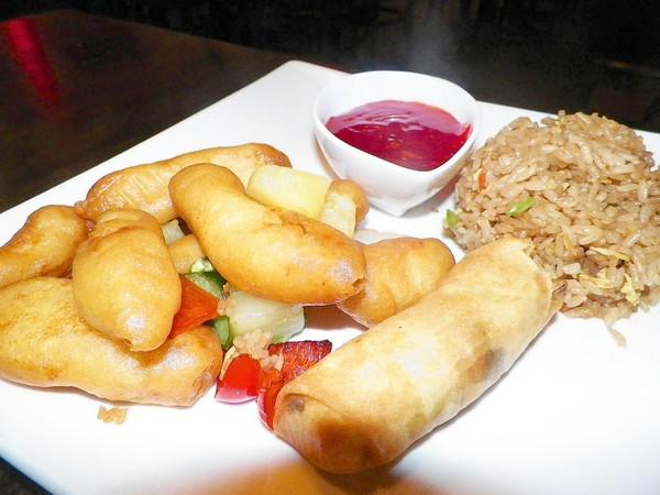 Sweet and sour lunch special at Ichiban Asian Bistro in Colchester. Lunch dishes range in price from $6.50 to $7.95. They come with rice and a spring roll.
