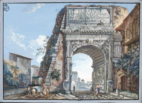 Unknown artist, Arch of Titus, 1770s, gouache on paper, Real Academia de Bellas Artes de San Fernando, Museo