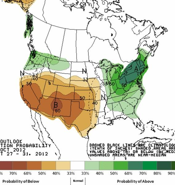 The National Weather Service's Hydrometeorological Prediction Center is expecting wet conditions in the northeast 6-10 days from now.