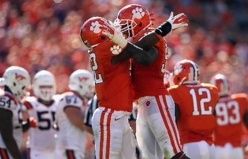 Clemson defense celebrates stop against Virginia Tech