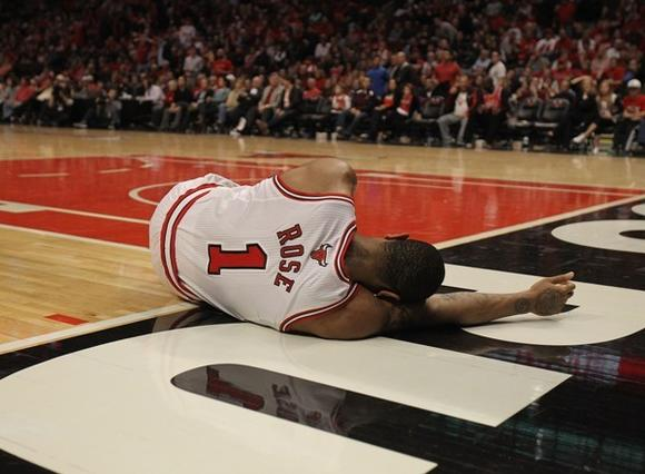 Derrick Rose goes down on April 28