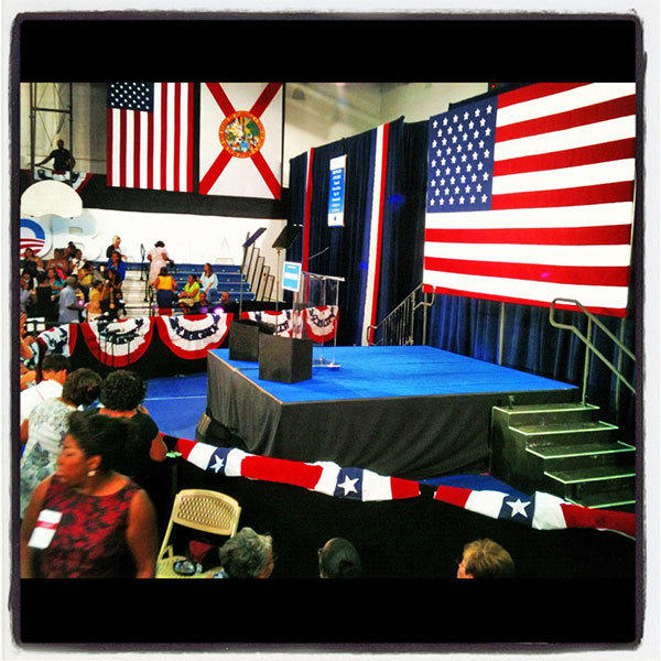 The stage is set for First Lady Michelle Obama to speaks to supports at Broward College in Davie Monday.