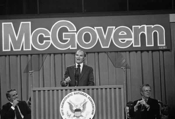 Sen. George S. McGovern makes his acceptance speech at the 1972 Democratic National Convention in Miami Beach.