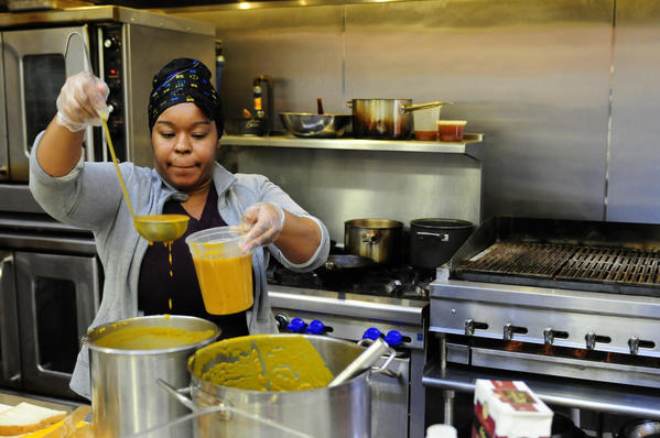 """I never thought I'd be doing this. I enjoy cooking,"" says sous-chef Tamarra Carson, 34, as she prepares butternut squash soup at the Kitchen and Cafe at Billings Forge on Broad Street in Hartford. Three years ago Carson, a resident at Billings Forge, was the first job trainee to be hired full-time at Billings Forge. Using locally grown squash, apples and sage, Carson prepared the soup for lunchtime customers as well as a catered event. The cafe is open for breakfast and lunch Monday through Friday and is located to the rear of Firebox Restaurant. This Thursday marks the last outdoor farmer's market this year at Billings Forge. The weekly market will move inside to the Studio for the winter beginning next week."