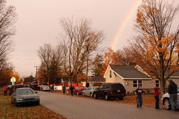 A rainbow is visible in the sky over Pellston Friday during a welcome-home celebration for Sgt. Zack Bellmer and Spc. Dwayne Aulgur, two Army National Guard soldiers who returned home to Emmet County after recent duty in Afghanistan.
