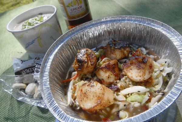 Thai Peanut Sea Scallops from High tide Gourmet Lobster Truck.