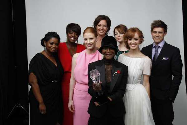 """The Help"" ensemble celebrates at this year's Critics Choice Awards. Next year's date, which coincides with Oscar nominations, will mean a long day for some in Hollywood."