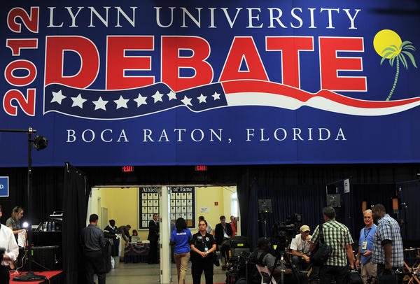 Preparations are made Monday at Lynn University in Boca Raton, Fla., ahead of the third and final presidential debate.