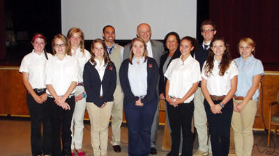 Pictured Row 1 (L-R): Marissa Buris, Madison Swick, Victoria Good, Aubrey Flynn, Jamie Mayersik, Pictured Row 2 (L-R): Laura Seitz; Sydney Price; Darvell Gibson, Americorps Member and Peer Mentoring Specialist with Goodwill Industries of the Conemaugh Valley, Inc.; Steve Purich; Renee M. Shaw, Executive Director of Development, BMCHS; Cody Bach, Lara McGlynn