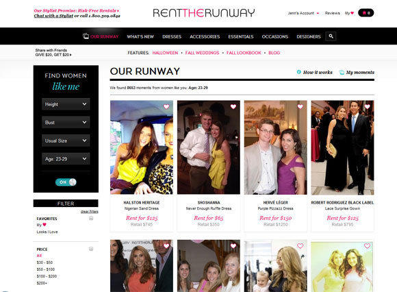 "Screenshot of the ""Our Runway"" feature on Rent the Runway."
