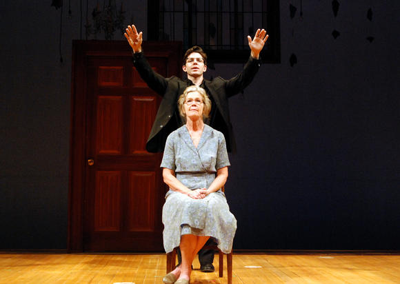 "Linda Gehringer and Tyler Pierce in South Coast Repertory's 2012 production of ""How to Write a New Book for the Bible"" by Bill Cain."