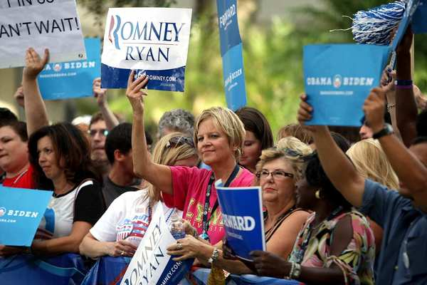 Supporters of Mitt Romney and Paul D. Ryan gather on the Lynn University campus.