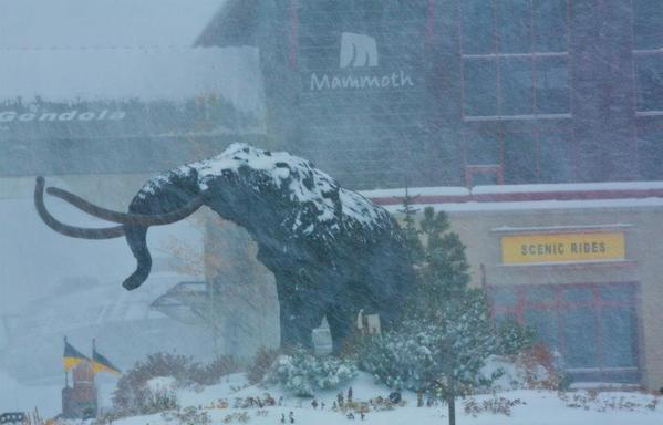 Up to a foot of snow was reported at Mammoth Monday, with more expected.