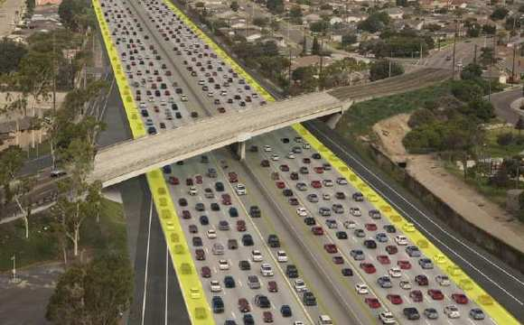 Pictured is a rendering for  Alternative 1 for the San Diego (405) Freeway widening project, which adds one general-purpose lane in both directions.